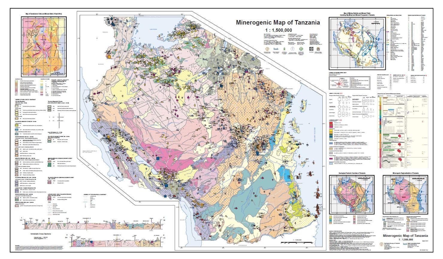 Minerogenetic Map Of Tanzania Mineral Metallogenic Maps - Map of tanzania
